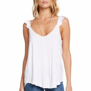Chaser NWT COOL JERSEY RUFFLE STRAP DOUBLE V CAMI